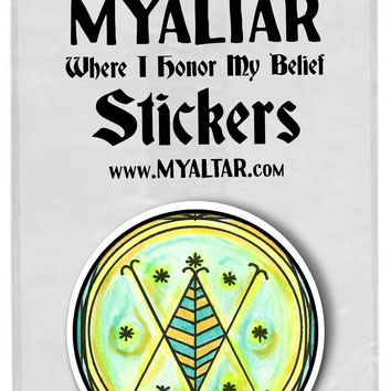 "Ayizan Miracle Work Wealth Secrets Magic Voodoo 2.25"" Round Pack of 5 Stickers"