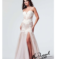 Nude & Ivory Satin & Lace Corset Prom Gown