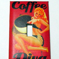 Light Switch Cover - Light Switch Plate Coffee Diva Pin Up Girl