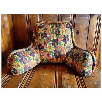 Floral Husband Pillow 1970s Funky Pillow 1970s Retro Pillows Vintage Husband Pillow