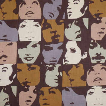 Neutral Tones In Crowd Faces Print Pure Cotton Fabric from Alexander Henry--One Yard