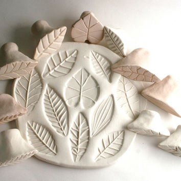 Clay Stamps Summer Leaf Set of 3 Tools for Fondant Ceramics Polyclay Pottery