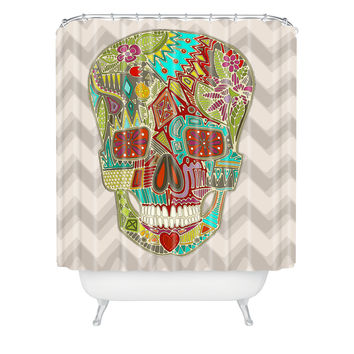 Sharon Turner Flower Skull Shower Curtain