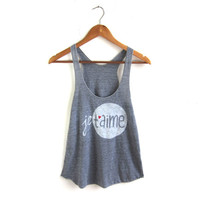 Je T'aime - Racerback Hand Stenciled Slouchy Scoop Neck Women's Swing Tank Top in Heather Grey and Red Heart - XS S M L