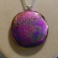 Fused Glass Necklace, dichroic, pink, purple, yellow, blue, round, circular, circle, smooth, silver clear glass dome black back shiny unique