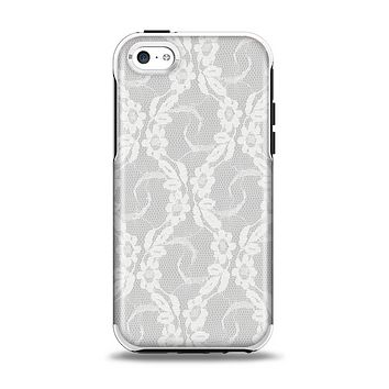The White Floral Lace Apple iPhone 5c Otterbox Symmetry Case Skin Set