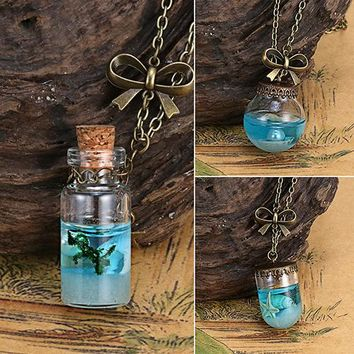 Bluelans New Stlye Fashion Sea Ocean Glass Bottle Pendant Mermaid Tears Shells Star Vial Necklace In Stock