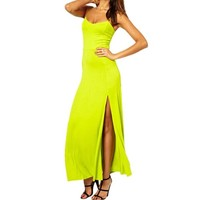 Magic Pieces Maxi Slip Dress with Thigh High Split 051327 Color Yellow Size XS