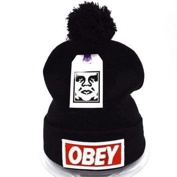 Obey Women Men Embroidery Beanies Knit Wool Hat Cap-3