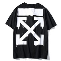 Off White & Simpson New Fashion Bust Pattern Print And Back Cross Print Women Men Top T-shirt Black