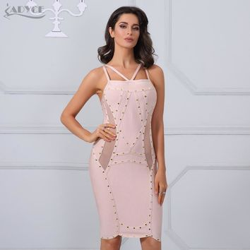 Adyce Summer Elegant Gold Studs Embellished Mesh Patchwork Sexy V Neck Celebrity Party Dresses Women Bandage Dress Clubwear