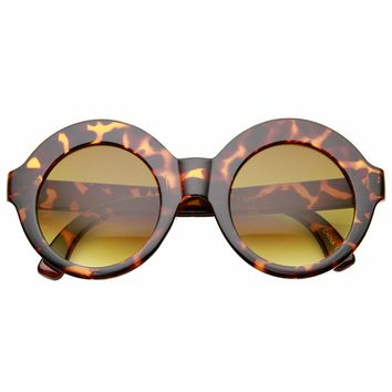 Womens Bold Oversized Glam Boho Fashion Circle Round Sunglasses