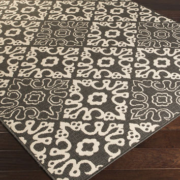 Alfresco Area Rug (Outdoor Rugs)   Black Medallion and Damasks Rugs Machine Made   Style ALF9637