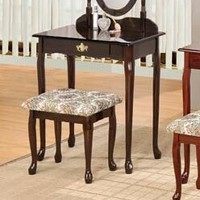 3 pc espresso finish wood vanity set with Vanity table, mirror and bench