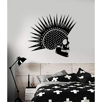 Vinyl Wall Decal Punk Rock Music Skull Mohawk Hairstyle Stickers (3036ig)