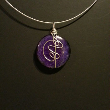 """Purple Wire wrapped stone pendant with """"18 neck ring,abstract pendant,modern jewelry, purple stone,  round pendant, large pendant,"""