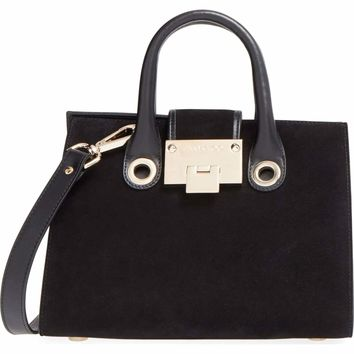 Jimmy Choo Women's Black Riley's Mini Suede Tote Crossbody OCERT028