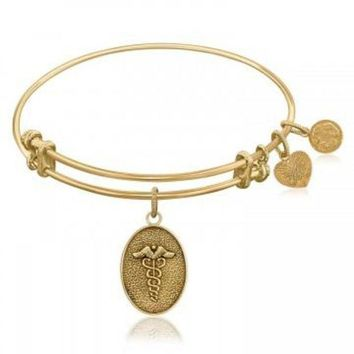 ac NOVQ2A Expandable Bangle in Yellow Tone Brass with Caduceus Staff Of Life Symbol