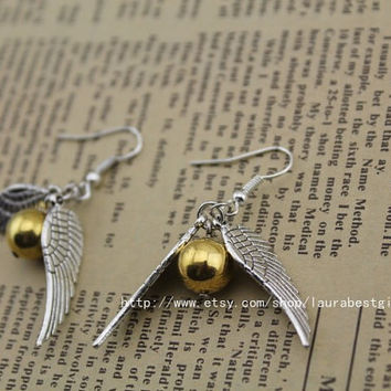 the harry potter jewelry The Golden Snitch earrings antique jewelry steampunk gift