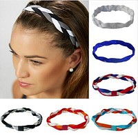 2017 New 1pcs Softball Baseball Sports Braided Headbands Sweat Silicone Non Slip Scrunchy Girl Elastic Hair Bands