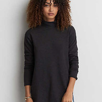 AEO Turtleneck Jegging Fleece Sweatshirt , Black