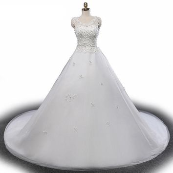 Vintage Luxury A Line Wedding Dresses Bride Wedding Dress Western Tulle Crystal Wedding Gowns