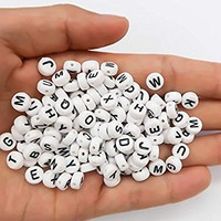 TOAOB 800Pcs 6mm Round Acrylic Letter Beads White Alphabet Beads for DIY Bracelets Necklaces Children's Educational Toys Handmade Gift