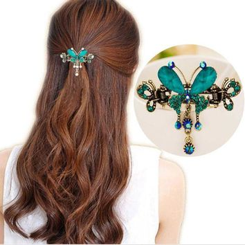 DCCKU62 Tomtosh New Vintage Women Elegant gem Butterfly Flower Hairpins Hair Barrette Clip Crystal Butterfly Bow Hair Clip Hair