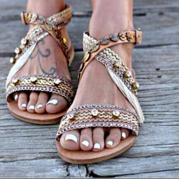 Summer Hot Sale Women Fashion Retro Weaving Flat Beach Sandals Slippers Shoes