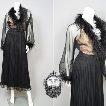 Vintage 70s MARCEL FENEZ Sheer Black and Nude Maxi Dress Ostrich Feather Evening Gown Pleated Chiffon Gothic Dress Vamp Dress Champagne