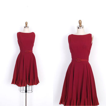 Vintage 1960s Dress / 60s Burgundy Cocktail Dress / Full Skirt (XS extra small)