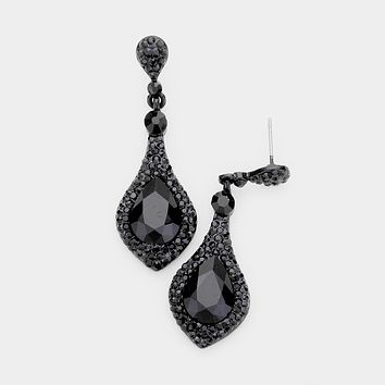 Teardrop Glass Crystal Rhinestone Evening Earrings