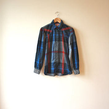 Plaid Western Shirt Puff Sleeves Womens Small