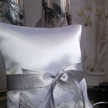 Hand painted Satin ring bearer pillow Silver Dragonfly theme wedding personalized wedding favor