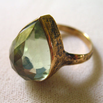 Bronze and Green Amethyst Teardrop Ring by LuraJewelry on Etsy