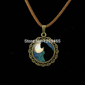 Morocco fashion jewelry Vintage black Cat Animal art picture Necklace Simple design lucky Gift for friends animal dog lovers