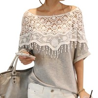 Keral Shirt Women Handmade Crochet Cape Collar Batwing Sleeve Blouse T Shirt_Gray