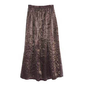 1980s Copper Floor-Length Skirt, Silk & Metallic