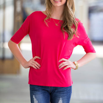 The Perfect Piko 3/4 Sleeve Slim Fit Top-Watermelon