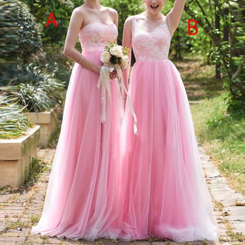 NEW Pink Bridesmaid Dresses 2017 Long Off The Shoulder Beach A-line Bridesmaid Gowns V-neck Tulle wedding guest dresses BD24