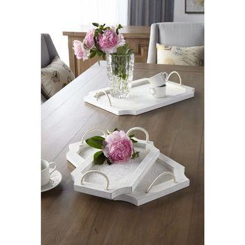 Sagebrook Home White Wood Tray Set with Handles (Set of 3) | Overstock.com Shopping - The Best Deals on Accent Pieces