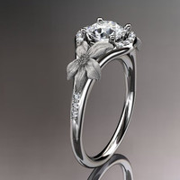 14kt white gold diamond leaf and vine wedding by anjaysdesigns