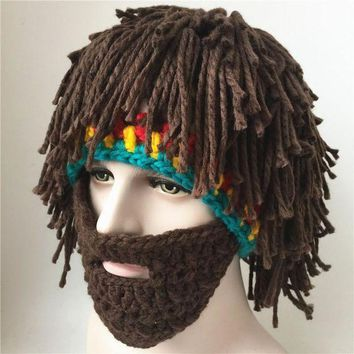 CREY6F The caveman hat wig beard tramp mad scientist hand knitted hat winter warm male and female fun Halloween mask party hats