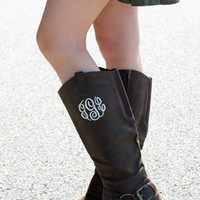 Monogrammed Suede Riding Boots