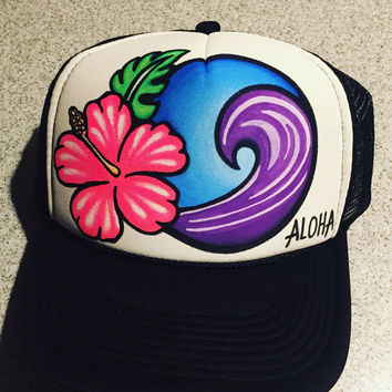 Hibiscus wave trucker hat handpainted ocean inspired