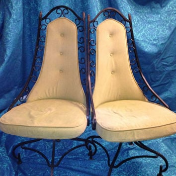 Handsome....Hollywood Regency 'Salterini-like', vintage iron swivel chairs set of 6. circa 1960s