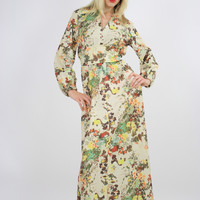 Vintage 70s Hippie Prairie Floral print Boho party Maxi Dress