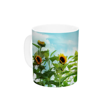 "Sylvia Cook ""Sunflower Field"" Blue Green Ceramic Coffee Mug"