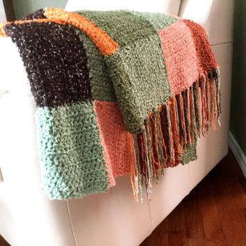 Throw Blanket with Fringe Crocheted Multicolored Afghan with Sparkles in Yarn Green Brown Orange Peach Rust Home Decor Couch Throw Afghan
