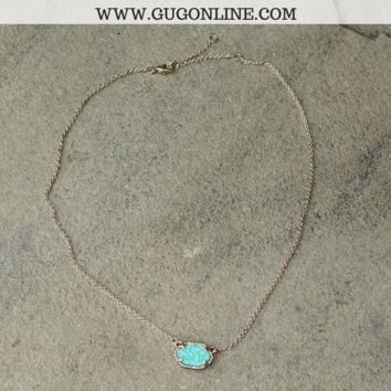 Short Gold Necklace with Green Druzy Stone
